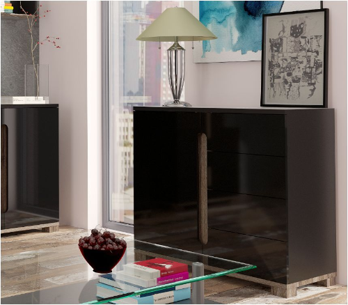 Lorenz High Gloss BLACK Narrow Sideboard 1 Door / 4 Drawer (P980LS45)