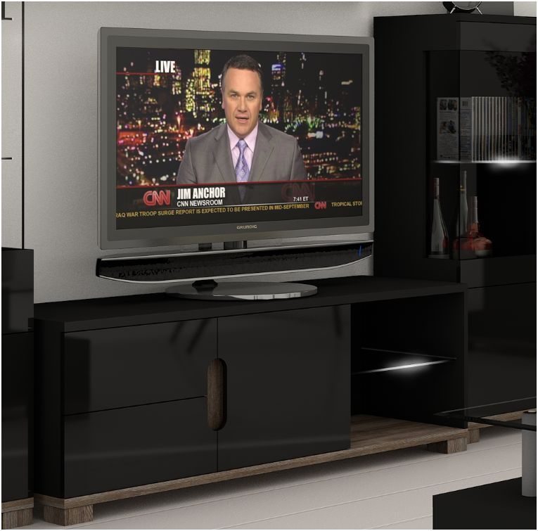 Lorenz Black High Gloss TV Cabinet With Lights - WOW