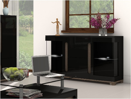 Lorenz High Gloss BLACK Wide Sideboard Glass Doors (P980LS32)
