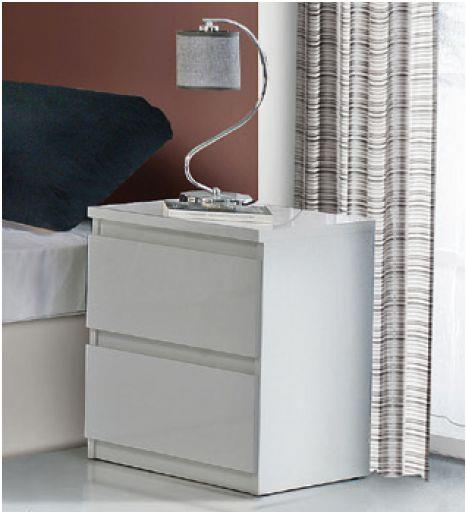 Lucia White High Gloss Bedside Table (CHLK12-C87)