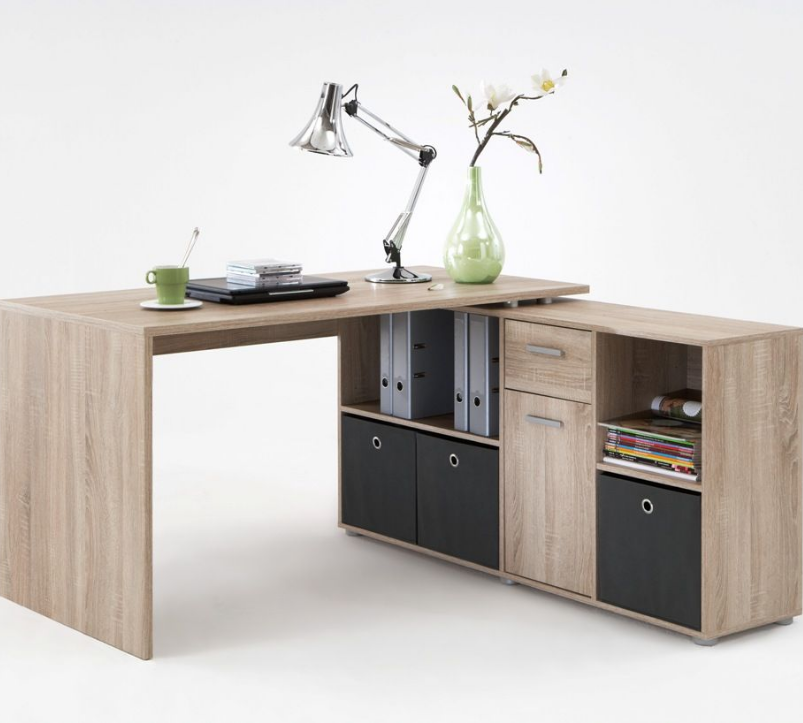 luna l shaped corner computer desk oak by furniturefactor. Black Bedroom Furniture Sets. Home Design Ideas