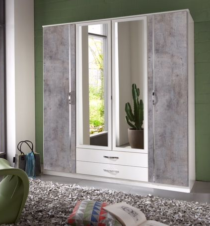 Maria 4 Door 2 Drawer Grey and White German Wardrobe 077453