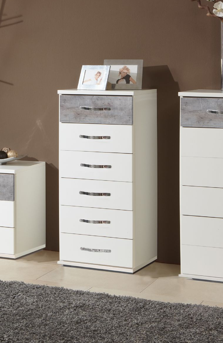 Maria White And Grey Narrow Chest Of Drawers Set Furniturefactor Uk