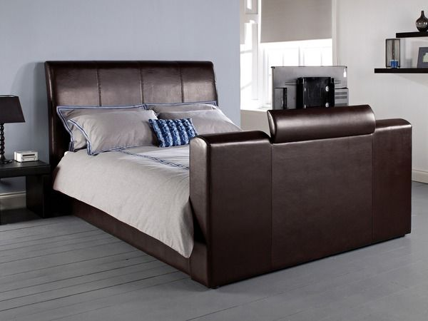 marseille brown faux leather king size tv bed 17ld208. Black Bedroom Furniture Sets. Home Design Ideas