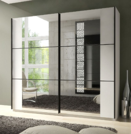 Memphis Sliding Large Mirrored Wardrobe White P8ssok02