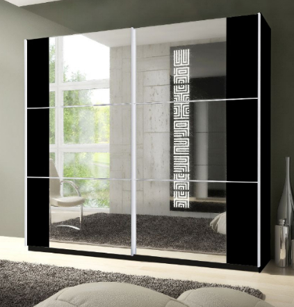 Memphis Sliding 2 Door Mirrored Wardrobe Black P8CSID02