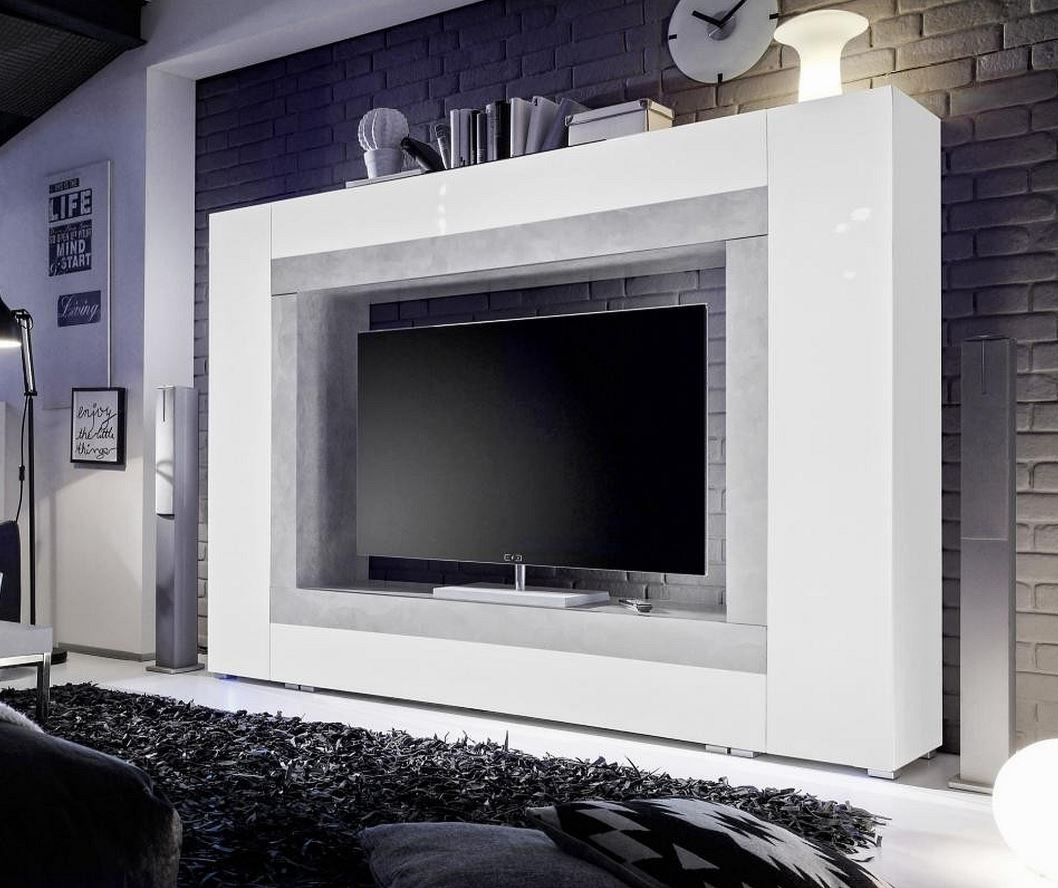 Milano White Gloss And Concrete Grey Large Tv Entertainment Wall Unit Cabinet