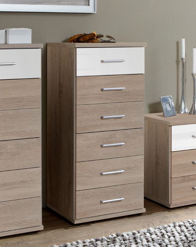 Munich Narrow Chest Of Drawers in Oak and White Gloss 2972