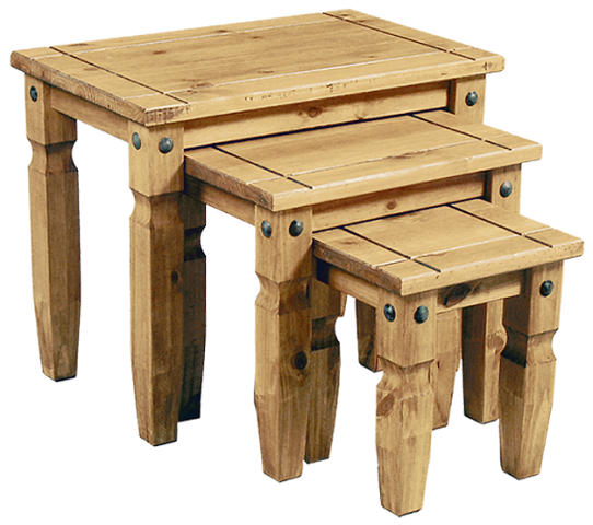 New Corona Pine Nest Of Tables HL76