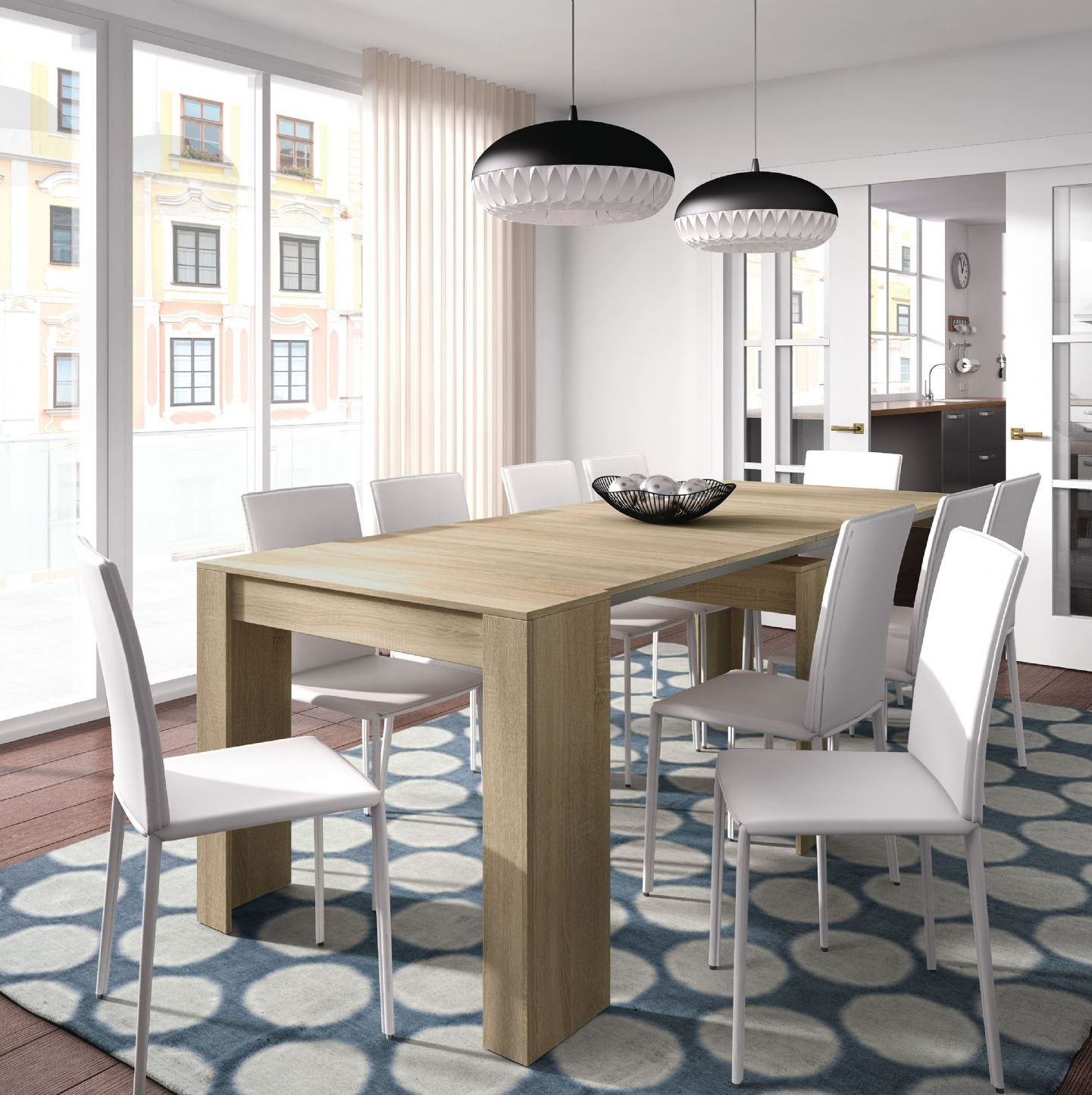 Nordic Grande 5 Position Oak Effect Extending Dining Table