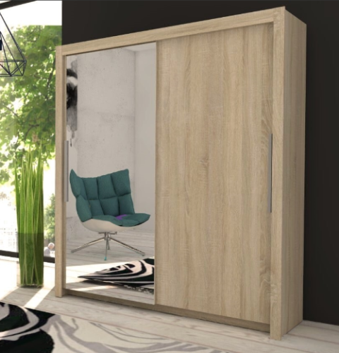 Oxford Sliding Door Wardrobe Slider Oak & Mirrored D01