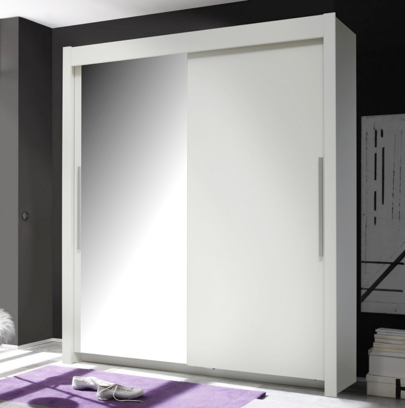 oxford sliding door wardrobe slider white mirrored d01 - White Wardrobe