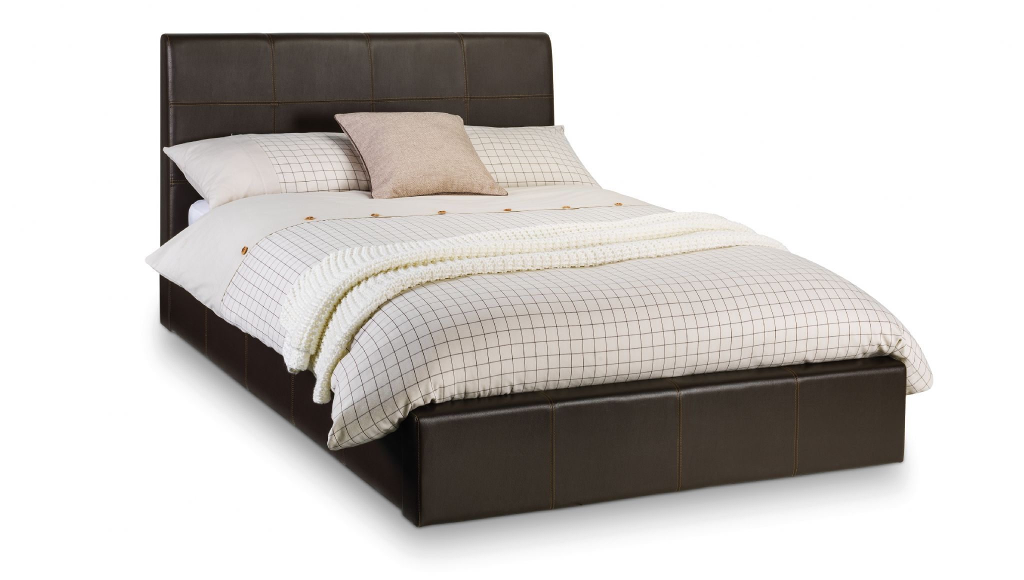 Potenza Brown Faux Leather Lift Up Storage King Size Bed Jb387