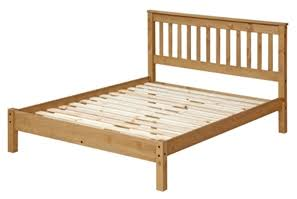 Puebla Waxed Pine 4'6 Slatted Low End Bedstead  WX460LE