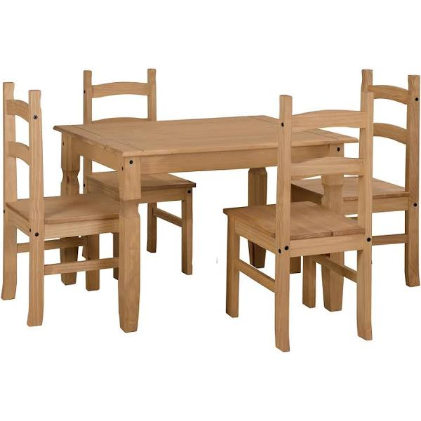 Puebla Waxed Pine Small Rectangular Dining Table 4 Chair Set Crtbset2
