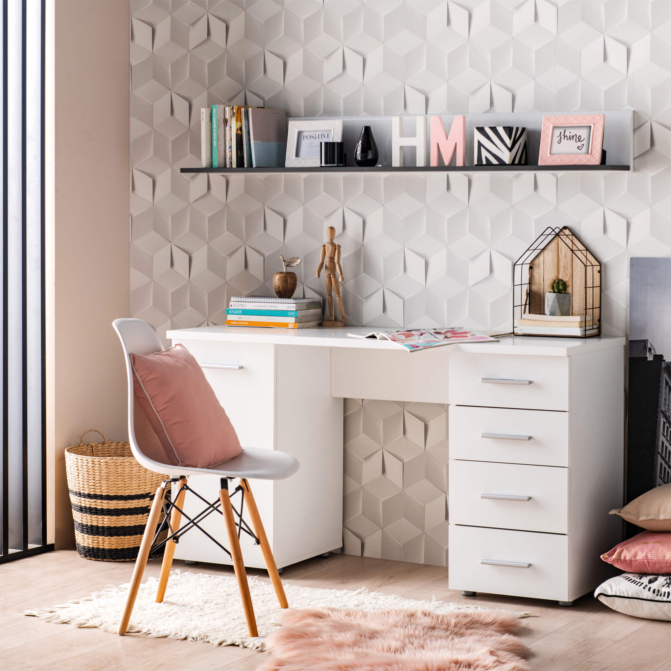 Pulton Large White Writing Desk With Drawers By Furniturefactor