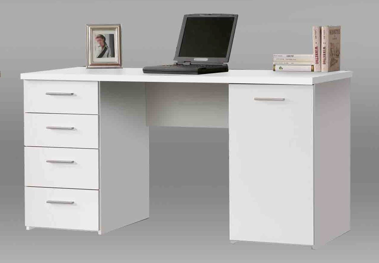 Pulton Large White Writing Desk With Drawers By
