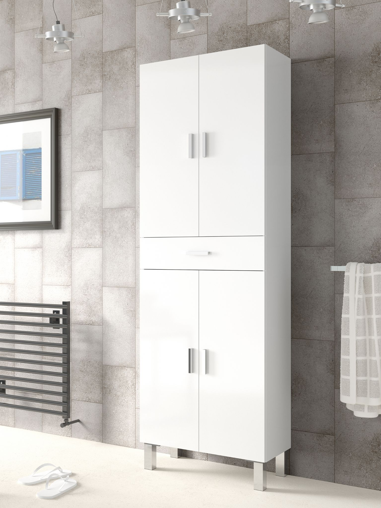 rimini tall bathroom cupboard white gloss. Black Bedroom Furniture Sets. Home Design Ideas