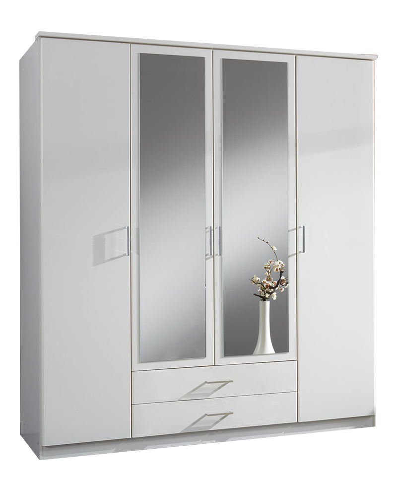 Large 4 Door White Mirrored Wardrobe - SALE at furniturefactor