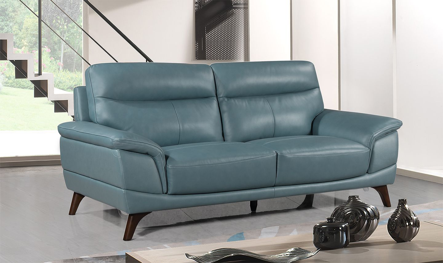 Salerno Petrol Blue Leather 3 Seater Sofa 18vd289