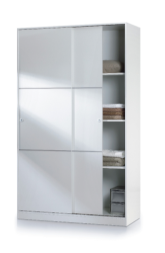 new concept 49ddd 6f342 Savona White Small Sliding Wardrobe 120cm Wide