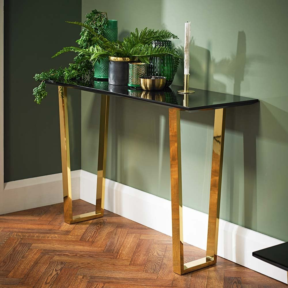 Senlis Black Gloss With Polished Gold Console Table 19LD493
