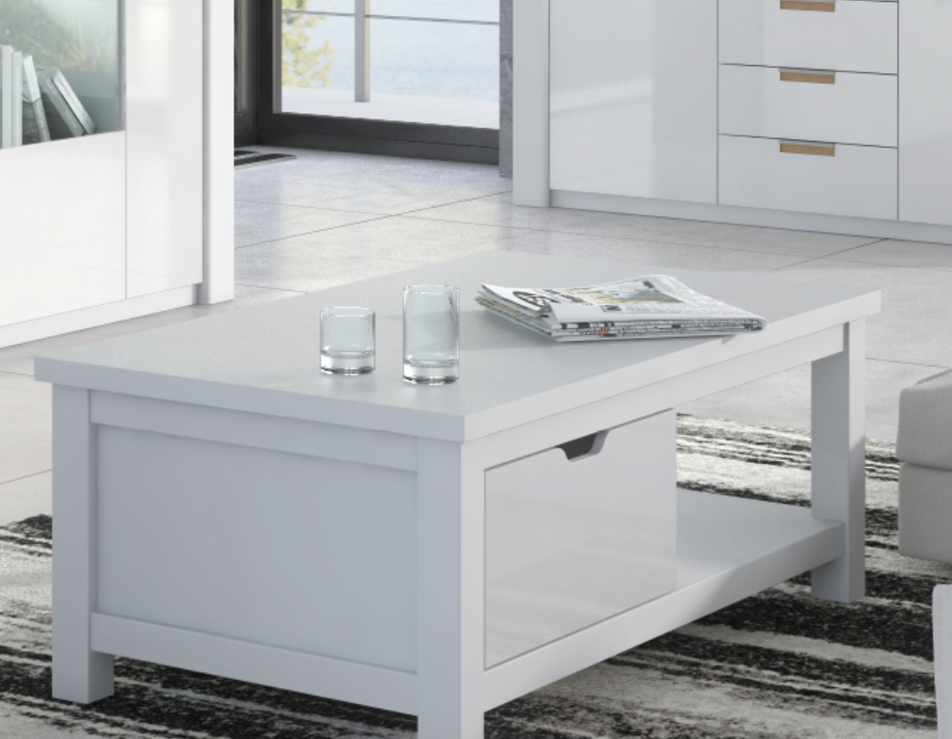 White Gloss Coffee Table With Storage 7