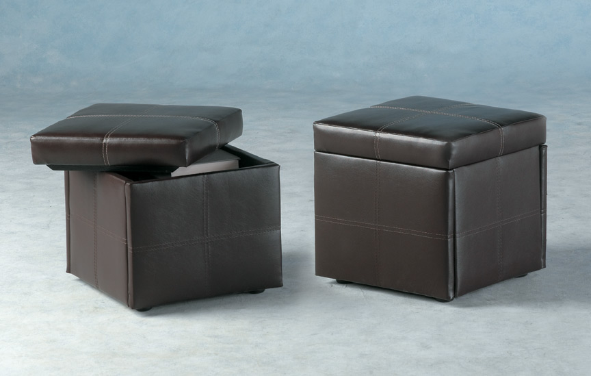 Servia Faux Leather Storage Stool
