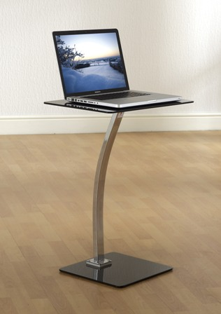 Taffarel Black Glass Laptop Table