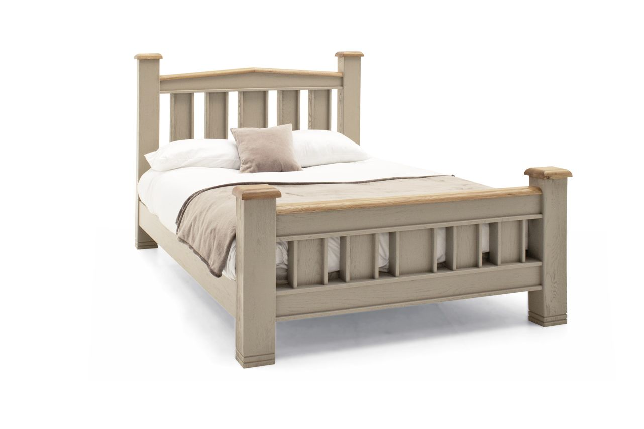 Tarquinia Taupe Semi Solid Oak King Size Bed 218vd595