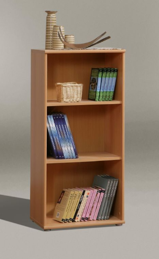 Tempra Low Narrow Beech Bookcase Bookshelf 54cm Wide KR50-127