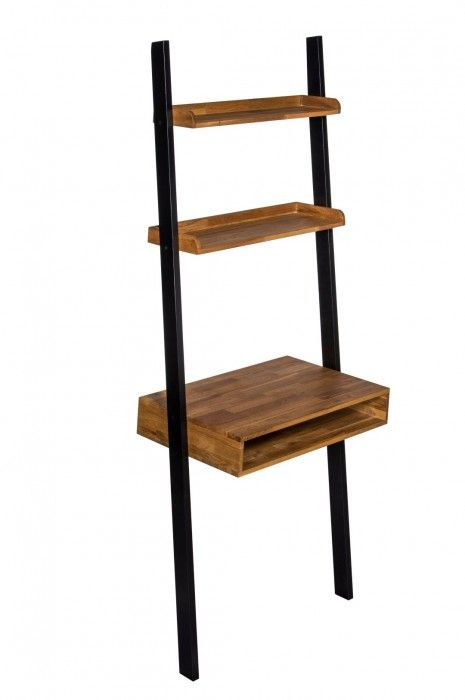 Thonon Black Frame With Oiled Wood Ladder Desk 19LD376
