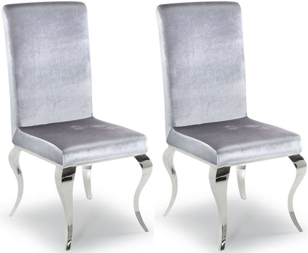 Tivoli Silver Velvet With Polished Metal Dining Chair (Pair) 218VD612