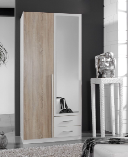 Toronto 2 Door and 2 Drawer White and Oak effect Wardrobe 119210