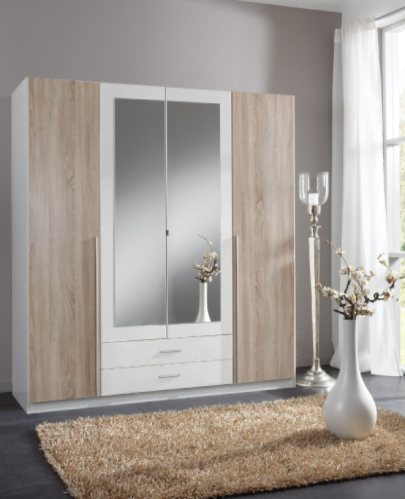 Toronto 4 Door and 2 Drawer White and Oak effect Wardrobe 119453