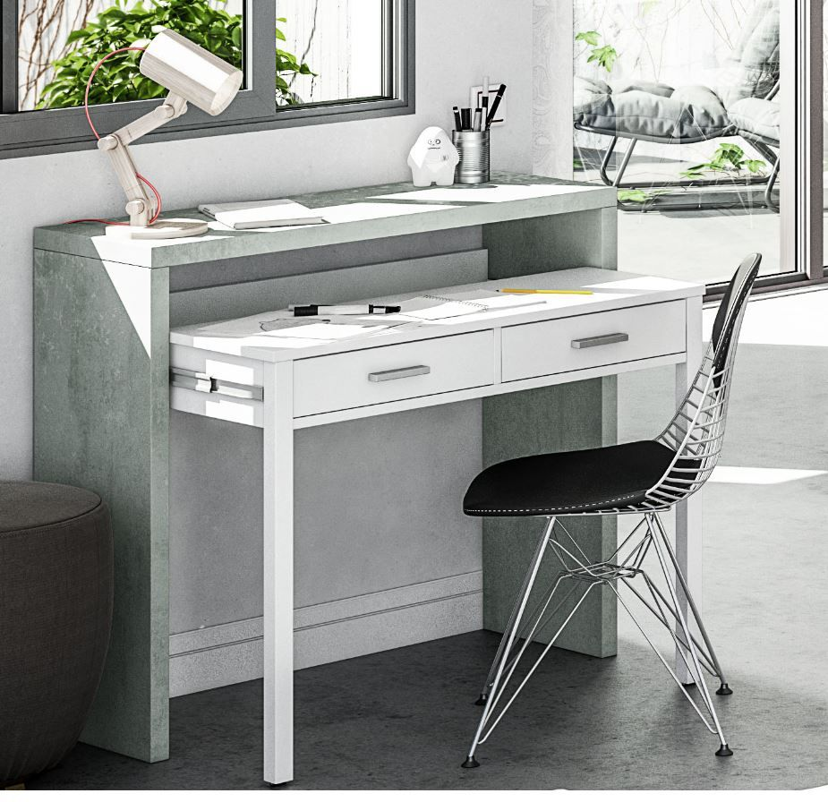 new product d5bb3 7b793 Tressa Extendable Console Desk in Grey and White - 0L4582A