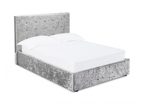 Tulle Silver Crushed Velvet Fabric King Size Ottoman Bed 17ld204
