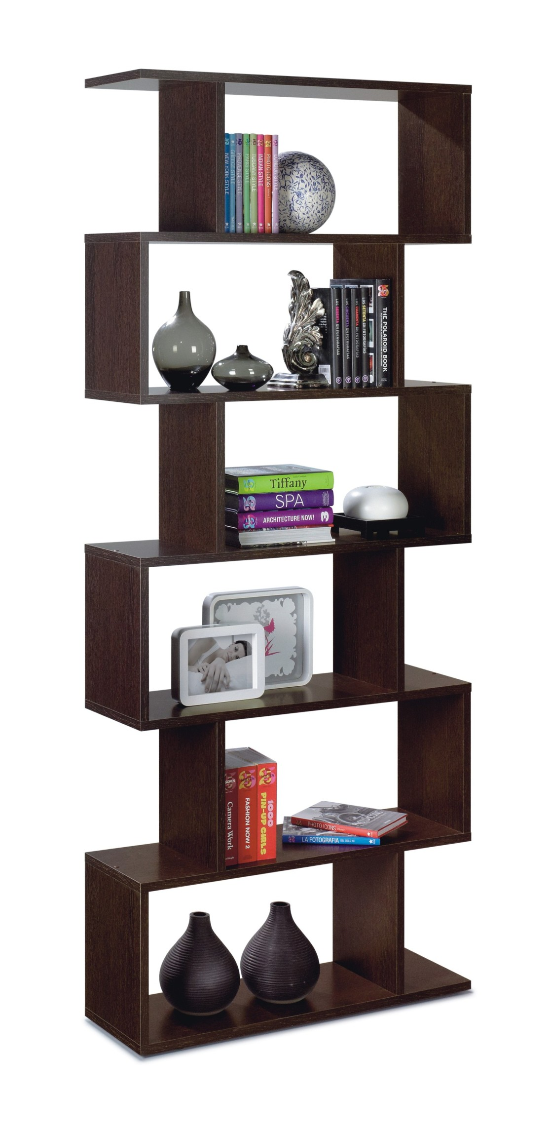 venice open back wenge brown bookcase 2441. Black Bedroom Furniture Sets. Home Design Ideas