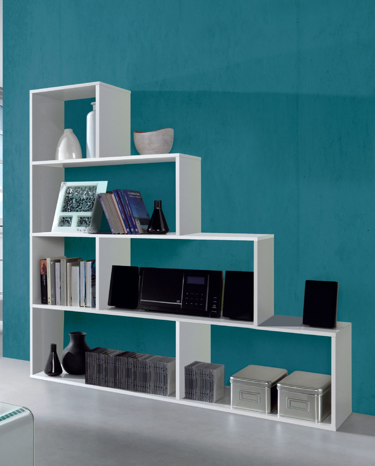 Verona Step Bookcase White Soft Gloss Bookshelf