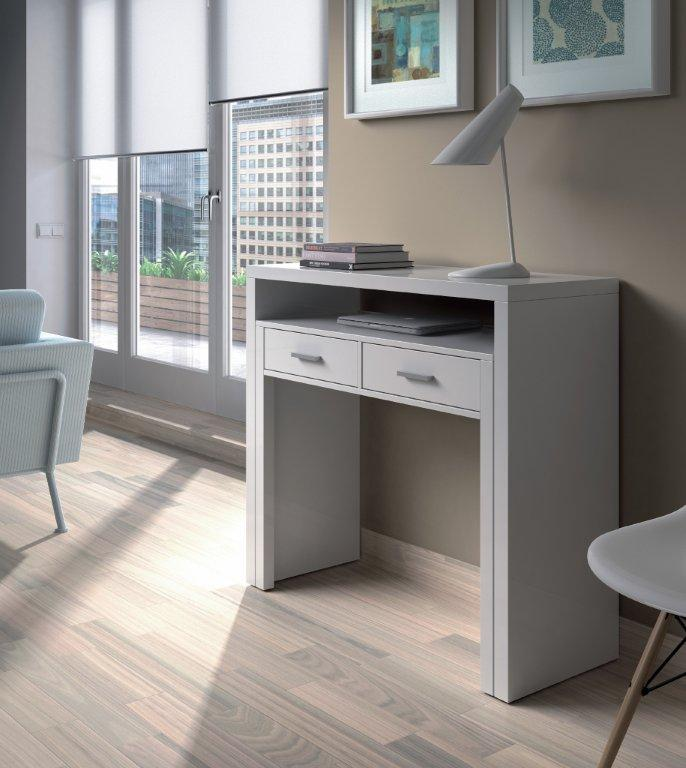 tressa white gloss extending console table and bedroom desk. Black Bedroom Furniture Sets. Home Design Ideas