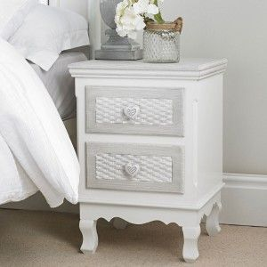 Villefranche White And Grey 2 Drawer Bedside 19LD15