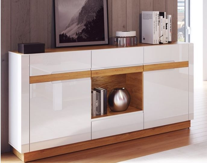 Visio White High Gloss With Oak Effect 2 Door Sideboard Szvs46